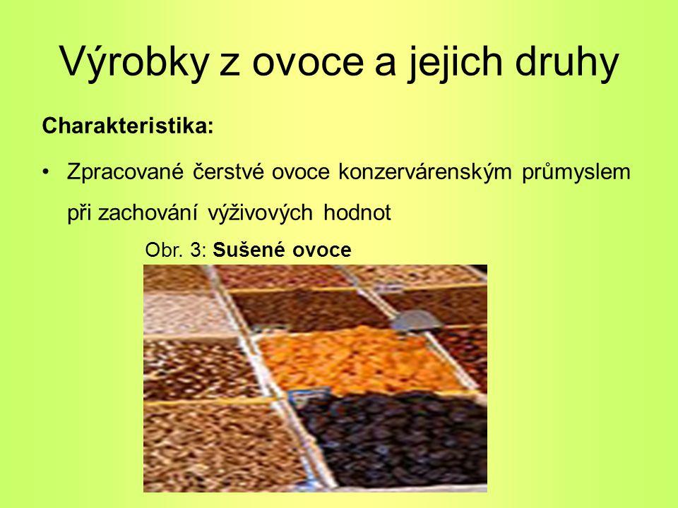 Výrobky z ovoce a jejich druhy Charakteristika: Zpracované čerstvé ovoce konzervárenským průmyslem při zachování výživových hodnot Obr. 3: Sušené ovoc