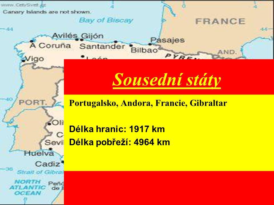 Sousední státy Portugalsko, Andora, Francie, Gibraltar Délka hranic: 1917 km Délka pobřeží: 4964 km