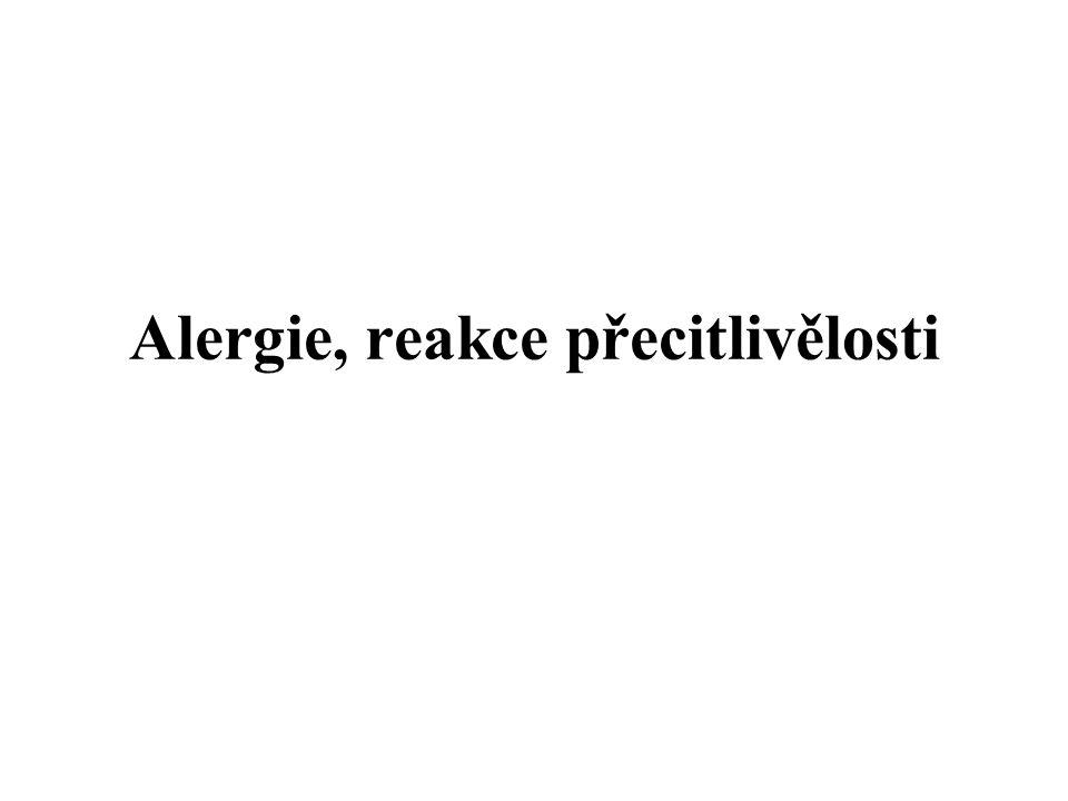 I.typ imunopatologické reakce (anafylaktický) 1/ Fáze senzibilizace Prezentace antigenu (alergenu) Th 0 - lymfocytům → vznik alergen-specifických Th 2 -lymfocytů → produkce alergen- specifických IgE → váží se na Fc  RI mastocytů a bazofilů