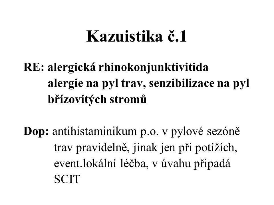 Kazuistika č.1 RE: alergická rhinokonjunktivitida alergie na pyl trav, senzibilizace na pyl břízovitých stromů Dop: antihistaminikum p.o. v pylové sez