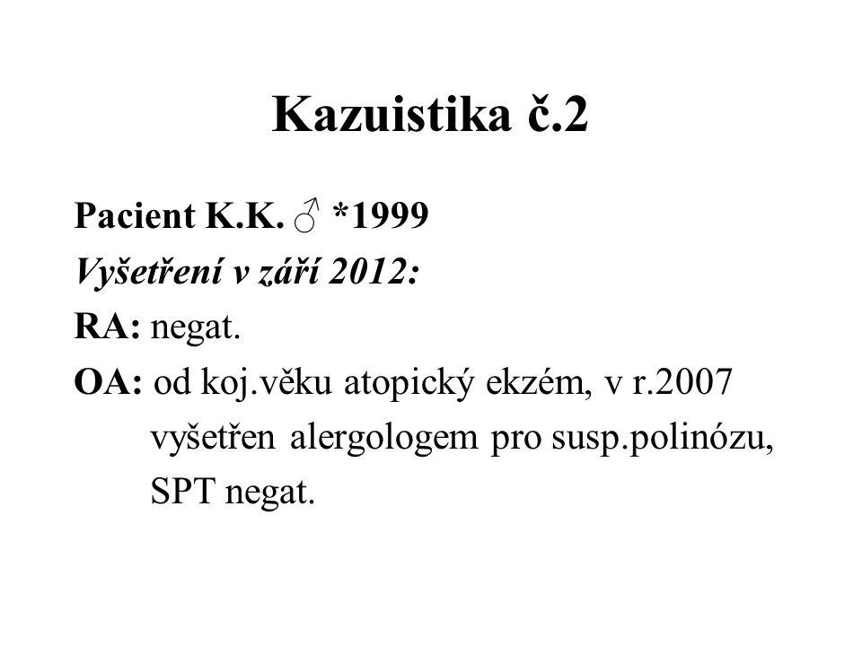 Kazuistika č.2 Pacient K.K. ♂ *1999 Vyšetření v září 2012: RA: negat. OA: od koj.věku atopický ekzém, v r.2007 vyšetřen alergologem pro susp.polinózu,