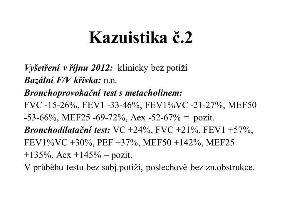 Kazuistika č.2 Vyšetření v říjnu 2012: klinicky bez potíží Bazální F/V křivka: n.n. Bronchoprovokační test s metacholinem: FVC -15-26%, FEV1 -33-46%,