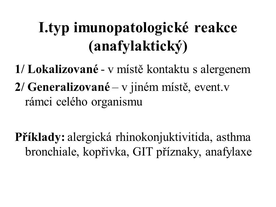 I.typ imunopatologické reakce (anafylaktický) 1/ Lokalizované - v místě kontaktu s alergenem 2/ Generalizované – v jiném místě, event.v rámci celého o