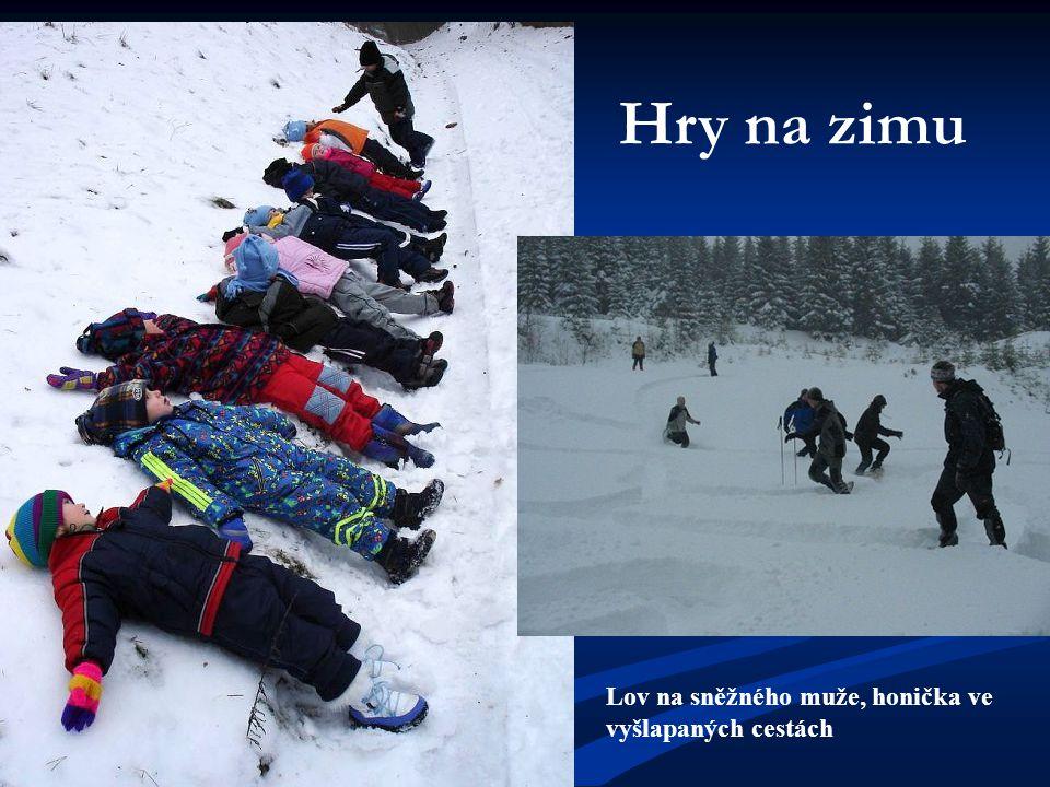 Hry na zimu Lov na sněžného muže, honička ve vyšlapaných cestách