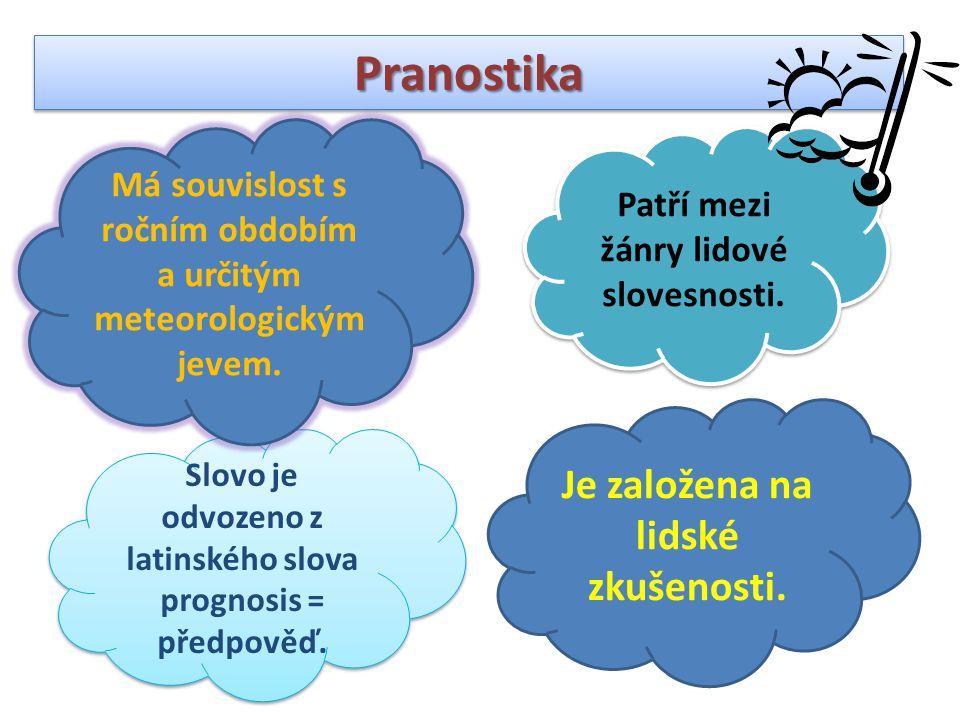 PranostikaPranostika Patří mezi žánry lidové slovesnosti. Slovo je odvozeno z latinského slova prognosis = předpověď. Má souvislost s ročním obdobím a