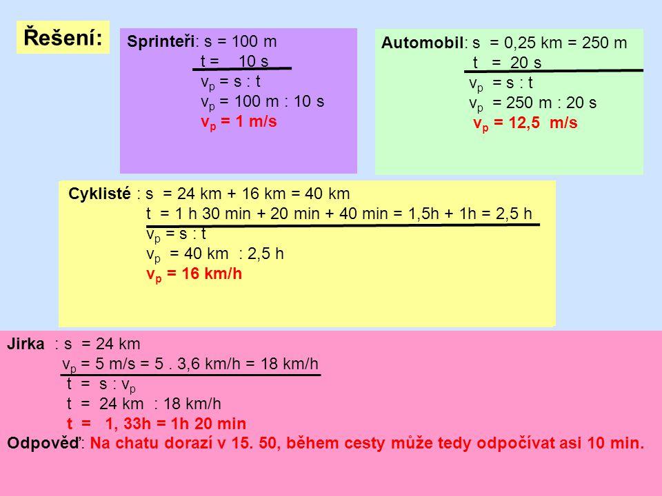 Řešení: Sprinteři: s = 100 m t = 10 s v p = s : t v p = 100 m : 10 s v p = 1 m/s Cyklisté : s = 24 km + 16 km = 40 km t = 1 h 30 min + 20 min + 40 min