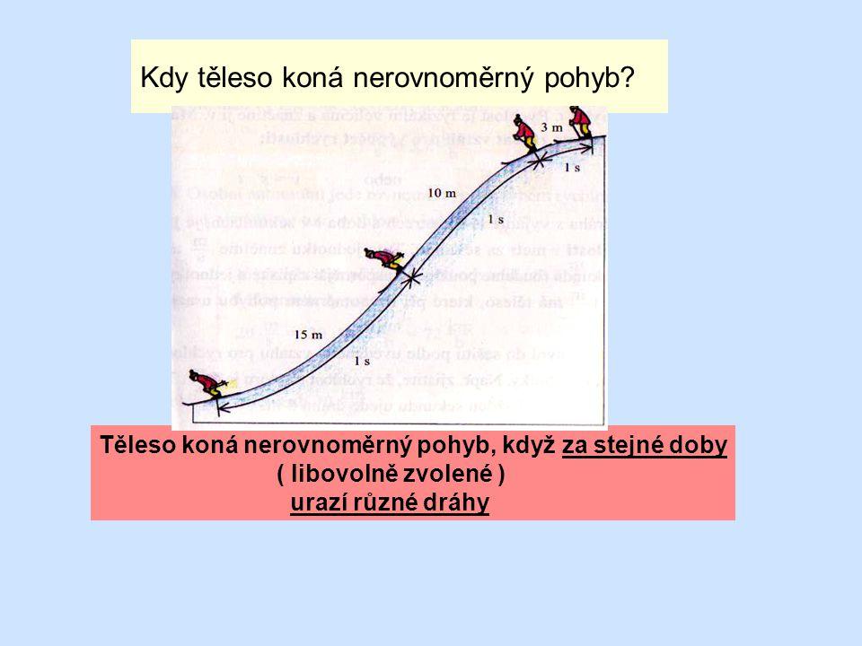 Kdy těleso koná nerovnoměrný pohyb? Těleso koná nerovnoměrný pohyb, když za stejné doby ( libovolně zvolené ) urazí různé dráhy