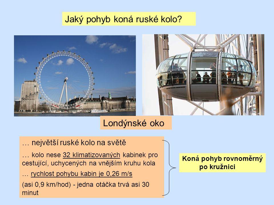 Jaký pohyb koná ruské kolo? … největší ruské kolo na světě … kolo nese 32 klimatizovaných kabinek pro cestující, uchycených na vnějším kruhu kola … ry