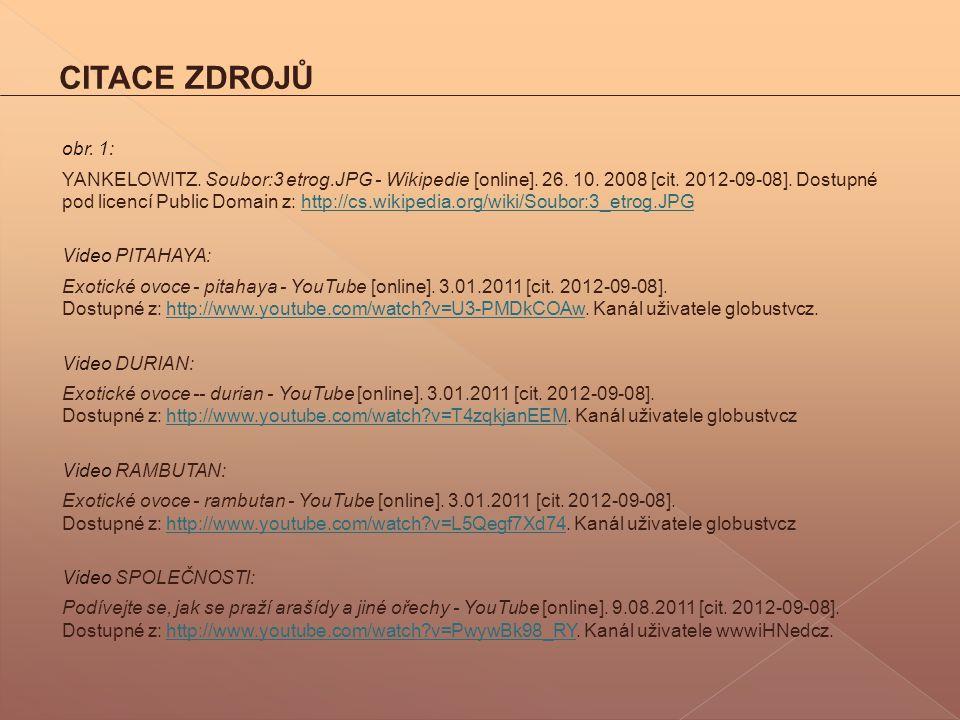 CITACE ZDROJŮ obr. 1: YANKELOWITZ. Soubor:3 etrog.JPG - Wikipedie [online]. 26. 10. 2008 [cit. 2012-09-08]. Dostupné pod licencí Public Domain z: http