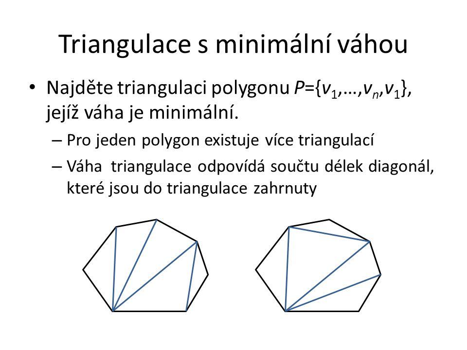 Triangulace s minimální váhou Najděte triangulaci polygonu P={v 1,…,v n,v 1 }, jejíž váha je minimální. – Pro jeden polygon existuje více triangulací