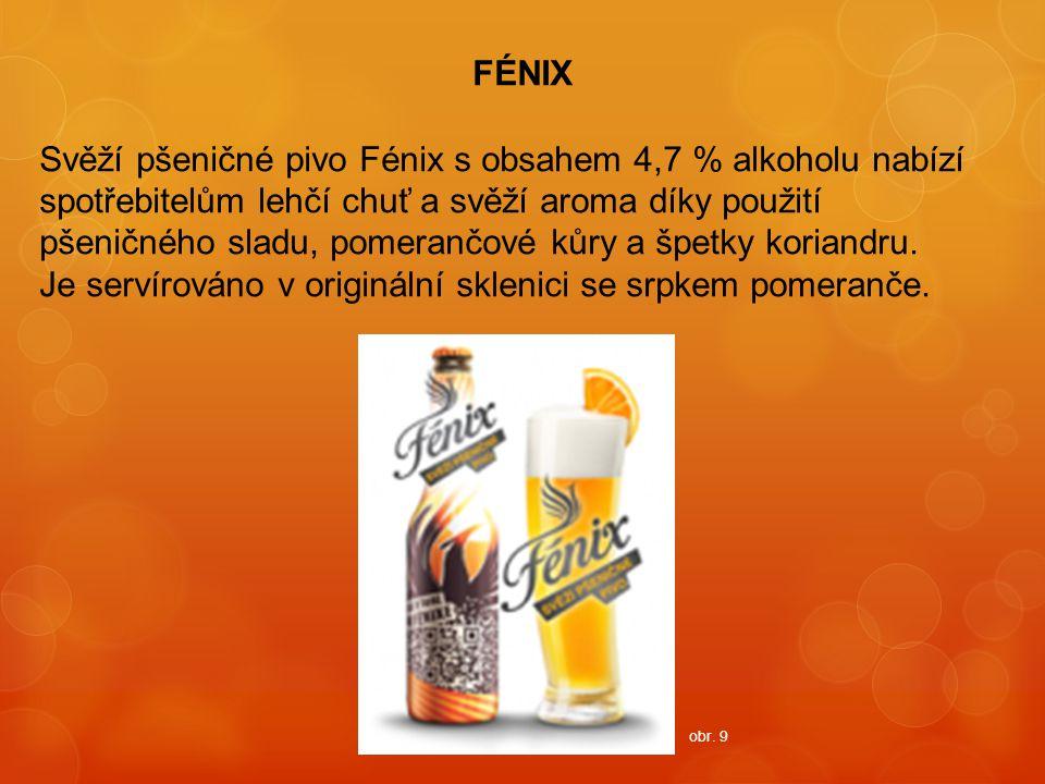 FÉNIX Svěží pšeničné pivo Fénix s obsahem 4,7 % alkoholu nabízí spotřebitelům lehčí chuť a svěží aroma díky použití pšeničného sladu, pomerančové kůry