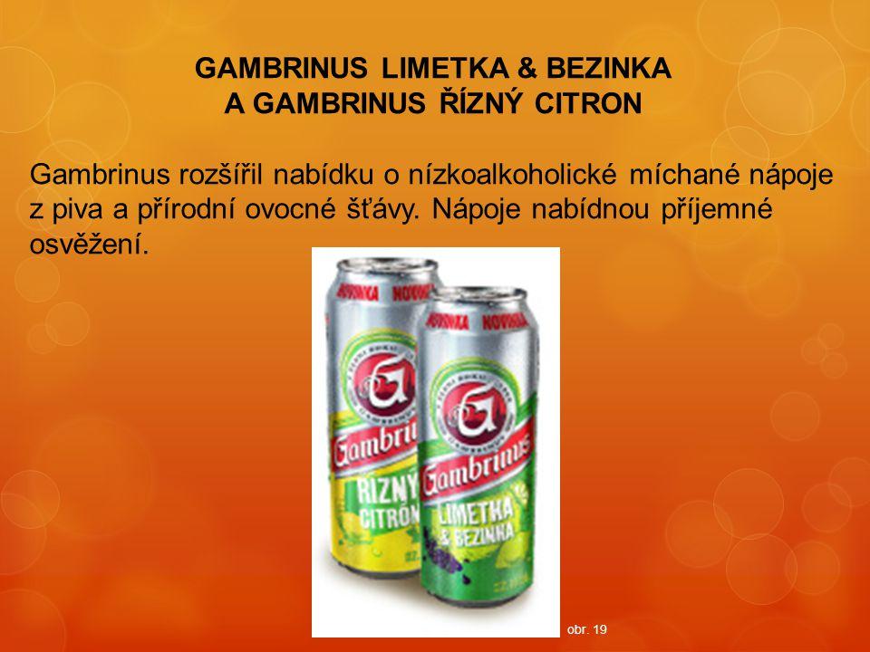 GAMBRINUS LIMETKA & BEZINKA A GAMBRINUS ŘÍZNÝ CITRON Gambrinus rozšířil nabídku o nízkoalkoholické míchané nápoje z piva a přírodní ovocné šťávy. Nápo