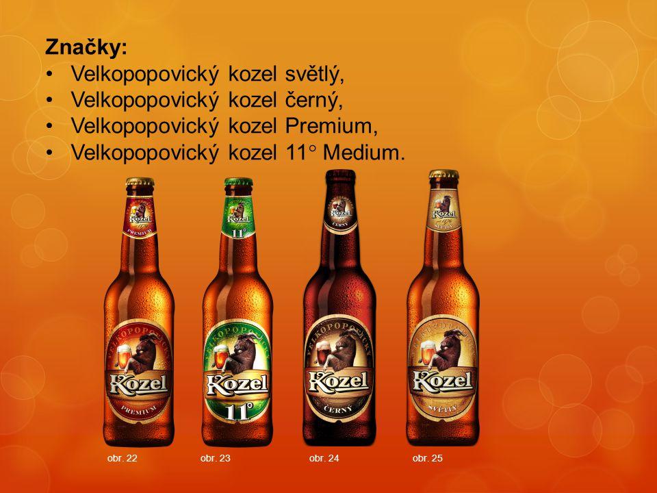 Značky: Velkopopovický kozel světlý, Velkopopovický kozel černý, Velkopopovický kozel Premium, Velkopopovický kozel 11° Medium. obr. 22obr. 23obr. 24o