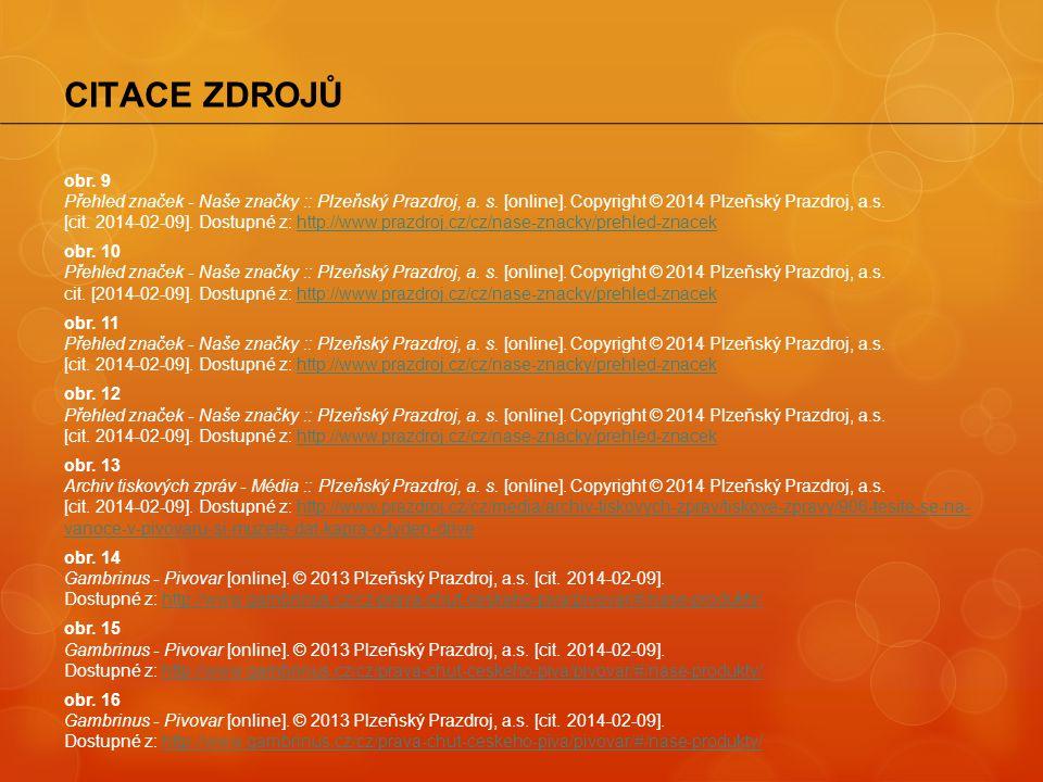 obr. 9 Přehled značek - Naše značky :: Plzeňský Prazdroj, a. s. [online]. Copyright © 2014 Plzeňský Prazdroj, a.s. [cit. 2014-02-09]. Dostupné z: http