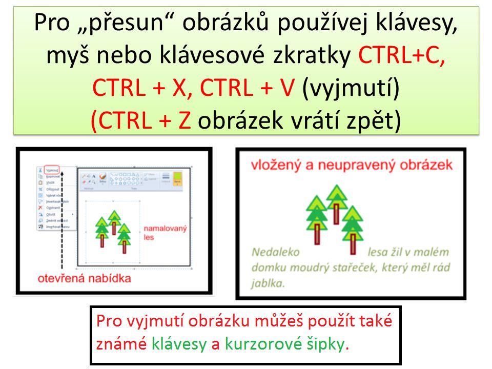 """Pro """"přesun"""" obrázků používej klávesy, myš nebo klávesové zkratky CTRL+C, CTRL + X, CTRL + V (vyjmutí) (CTRL + Z obrázek vrátí zpět)"""
