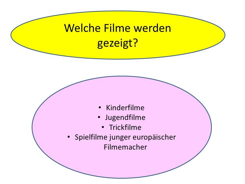 Kinderfilme Jugendfilme Trickfilme Spielfilme junger europäischer Filmemacher Welche Filme werden gezeigt?