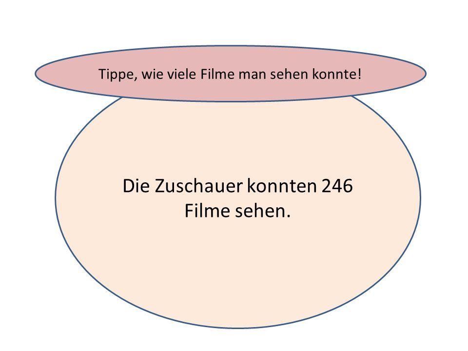 Die Zuschauer konnten 246 Filme sehen. Tippe, wie viele Filme man sehen konnte!