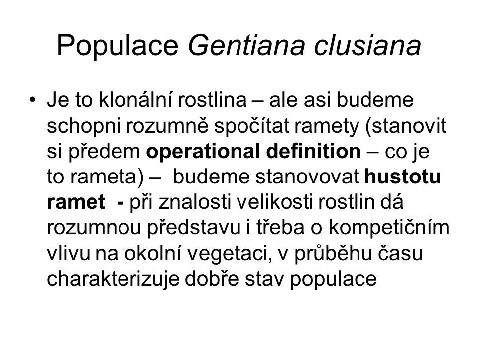 Populace Gentiana clusiana Je to klonální rostlina – ale asi budeme schopni rozumně spočítat ramety (stanovit si předem operational definition – co je to rameta) – budeme stanovovat hustotu ramet - při znalosti velikosti rostlin dá rozumnou představu i třeba o kompetičním vlivu na okolní vegetaci, v průběhu času charakterizuje dobře stav populace
