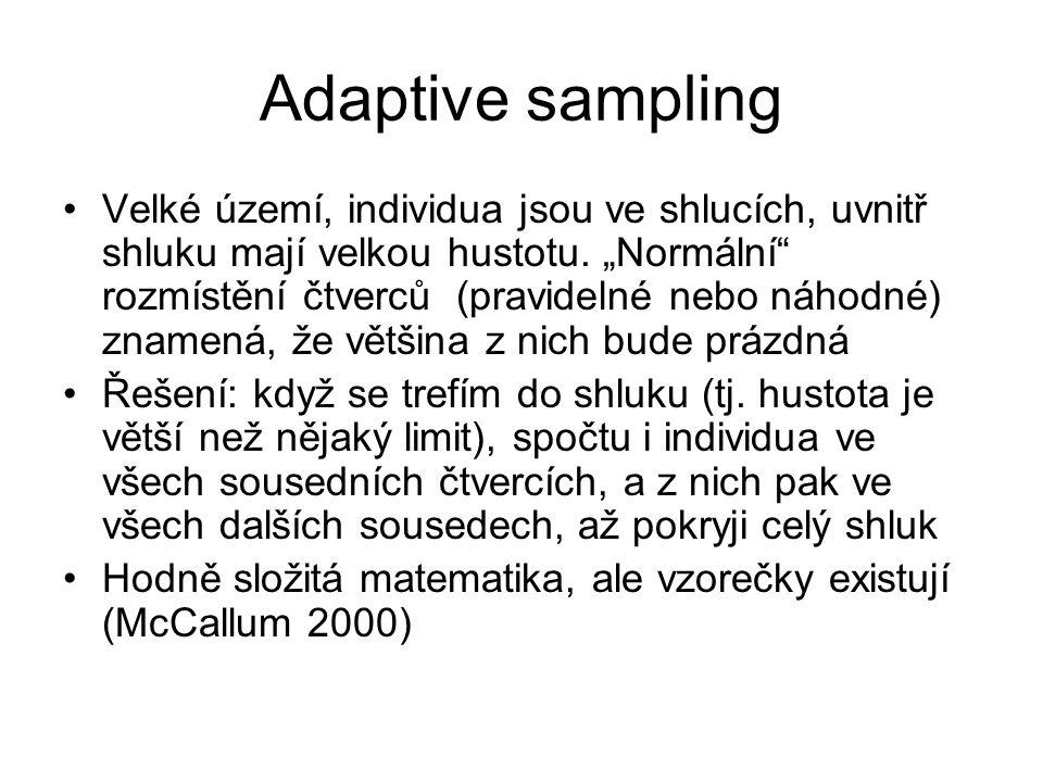 Adaptive sampling Velké území, individua jsou ve shlucích, uvnitř shluku mají velkou hustotu.