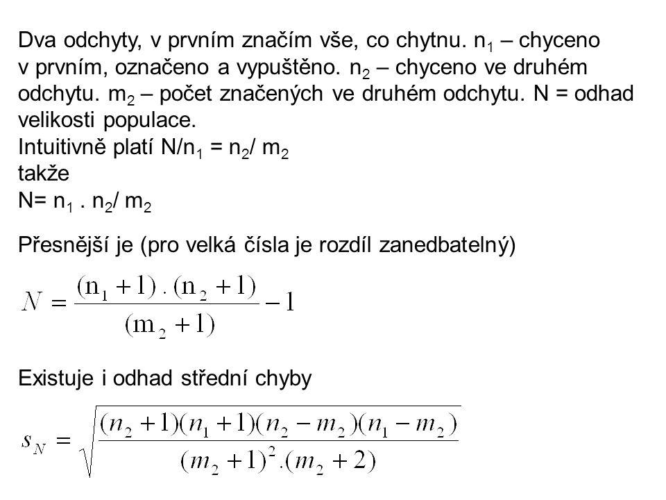 Dva odchyty, v prvním značím vše, co chytnu. n 1 – chyceno v prvním, označeno a vypuštěno.