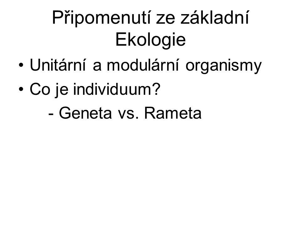 Připomenutí ze základní Ekologie Unitární a modulární organismy Co je individuum.