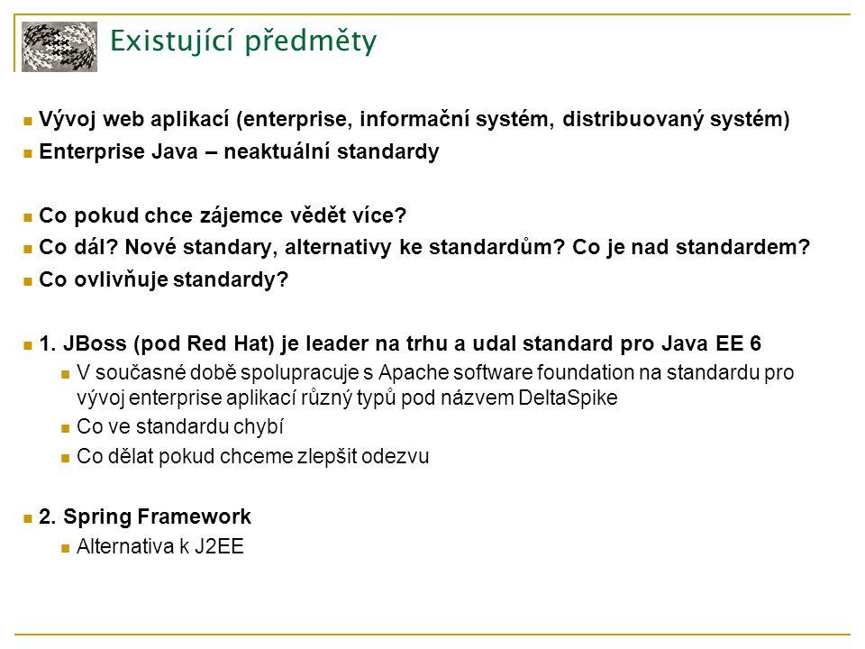 Existující předměty Vývoj web aplikací (enterprise, informační systém, distribuovaný systém) Enterprise Java – neaktuální standardy Co pokud chce zájemce vědět více.