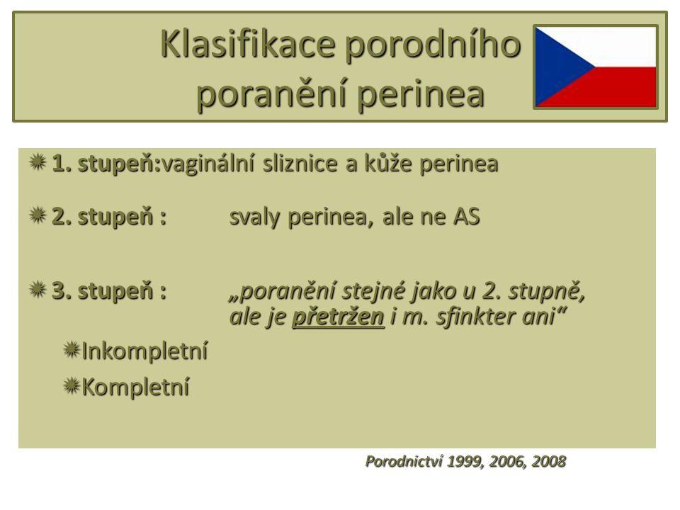 """Klasifikace porodního poranění perinea  1. stupeň:vaginální sliznice a kůže perinea  2. stupeň :svaly perinea, ale ne AS  3. stupeň : """"poranění ste"""