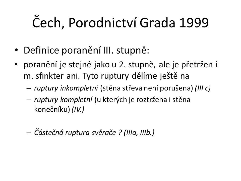 Čech, Porodnictví Grada 1999 Definice poranění III. stupně: poranění je stejné jako u 2. stupně, ale je přetržen i m. sfinkter ani. Tyto ruptury dělím