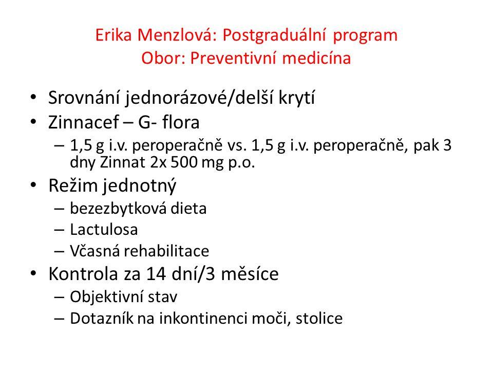 Erika Menzlová: Postgraduální program Obor: Preventivní medicína Srovnání jednorázové/delší krytí Zinnacef – G- flora – 1,5 g i.v. peroperačně vs. 1,5
