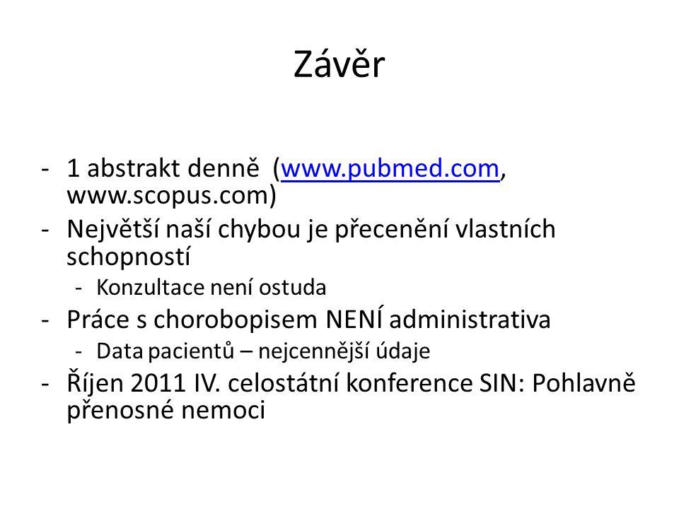 Závěr -1 abstrakt denně (www.pubmed.com, www.scopus.com)www.pubmed.com -Největší naší chybou je přecenění vlastních schopností -Konzultace není ostuda