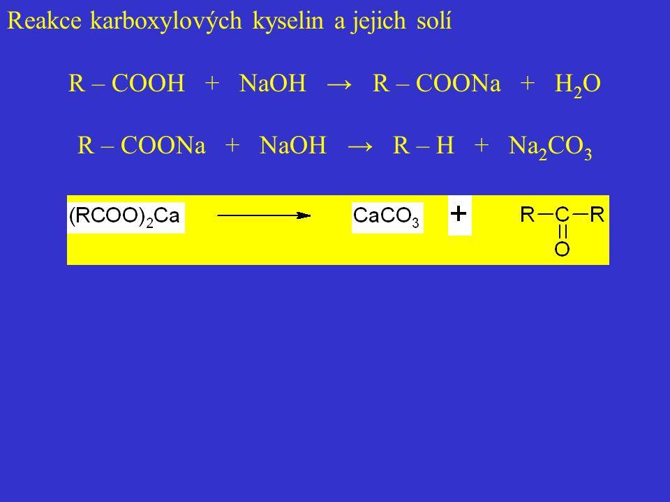 Reakce karboxylových kyselin a jejich solí R – COOH + NaOH → R – COONa + H 2 O R – COONa + NaOH → R – H + Na 2 CO 3