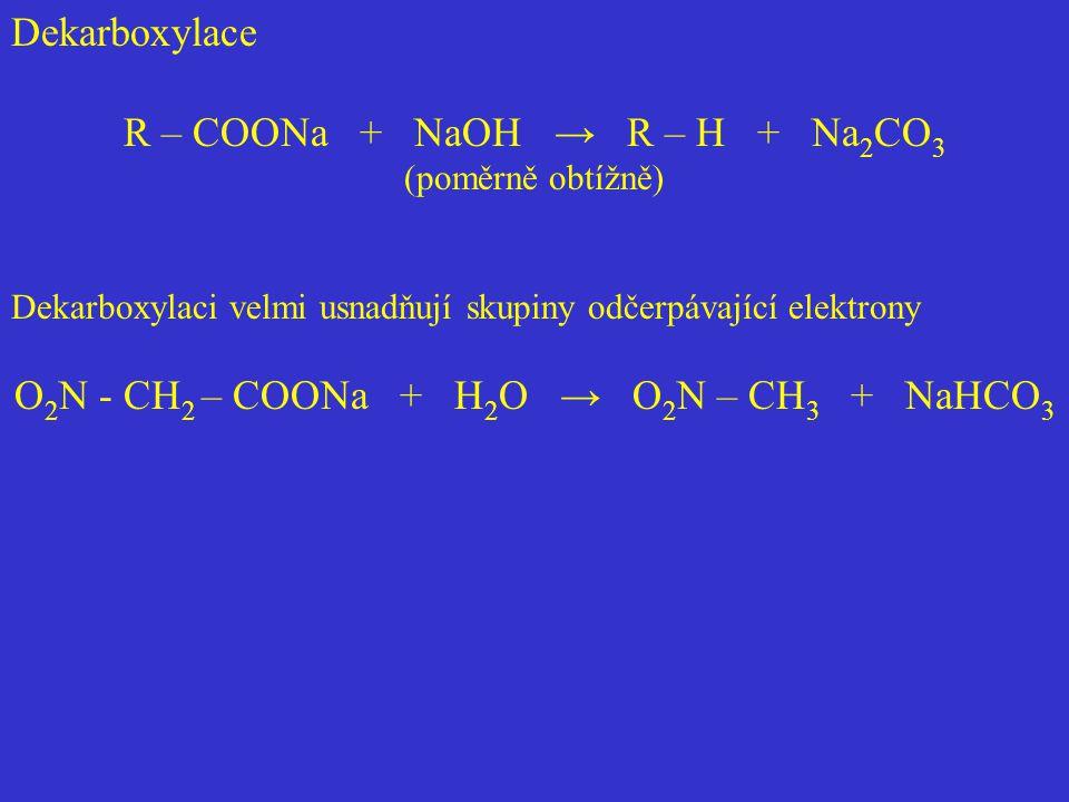 Dekarboxylace R – COONa + NaOH → R – H + Na 2 CO 3 (poměrně obtížně) Dekarboxylaci velmi usnadňují skupiny odčerpávající elektrony O 2 N - CH 2 – COON