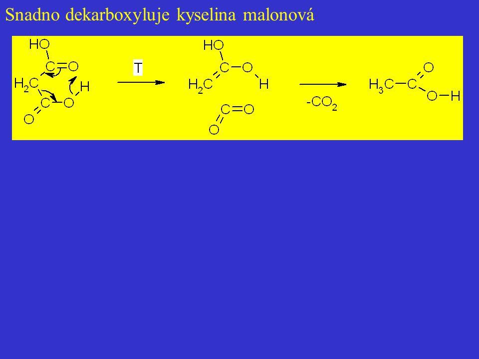 Snadno dekarboxyluje kyselina malonová