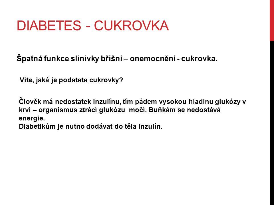 DIABETES - CUKROVKA Špatná funkce slinivky břišní – onemocnění - cukrovka.