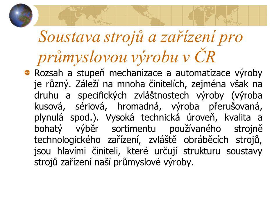 Soustava strojů a zařízení pro průmyslovou výrobu v ČR Rozsah a stupeň mechanizace a automatizace výroby je různý.
