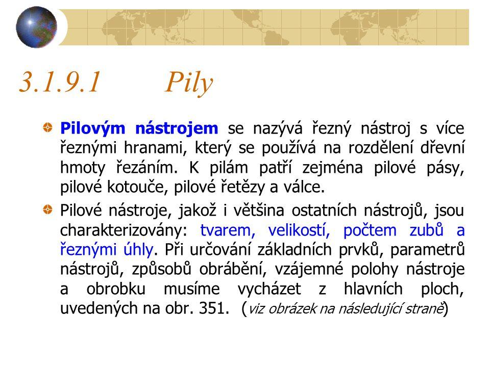 3.1.9.1Pily Pilovým nástrojem se nazývá řezný nástroj s více řeznými hranami, který se používá na rozdělení dřevní hmoty řezáním.