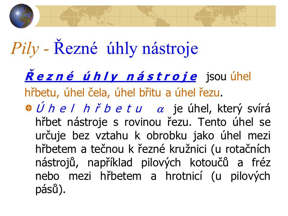 Pily - Řezné úhly nástroje Ř e z n é ú h l y n á s t r o j e jsou úhel hřbetu, úhel čela, úhel břitu a úhel řezu.