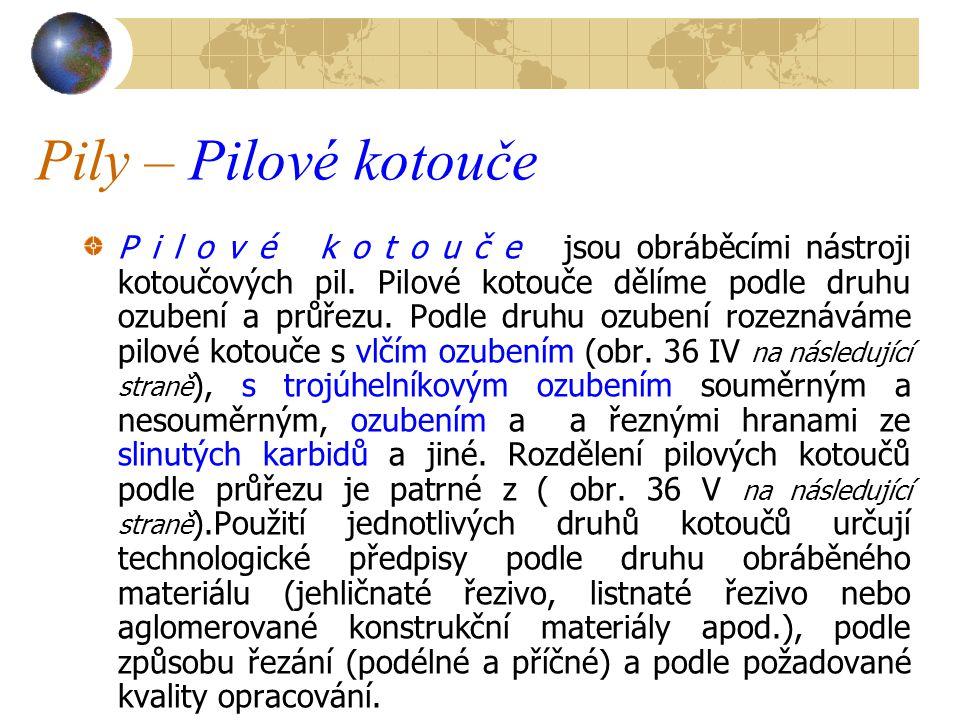 Pily – Pilové kotouče P i l o v é k o t o u č e jsou obráběcími nástroji kotoučových pil.
