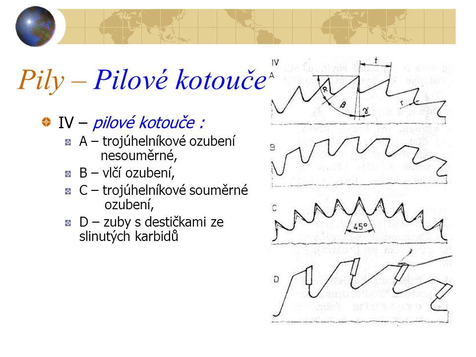 Pily – Pilové kotouče IV – pilové kotouče : A – trojúhelníkové ozubení nesouměrné, B – vlčí ozubení, C – trojúhelníkové souměrné ozubení, D – zuby s destičkami ze slinutých karbidů