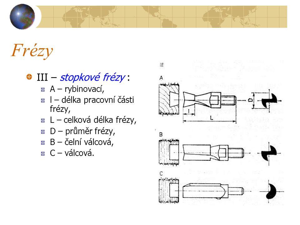 Frézy III – stopkové frézy : A – rybinovací, l – délka pracovní části frézy, L – celková délka frézy, D – průměr frézy, B – čelní válcová, C – válcová.