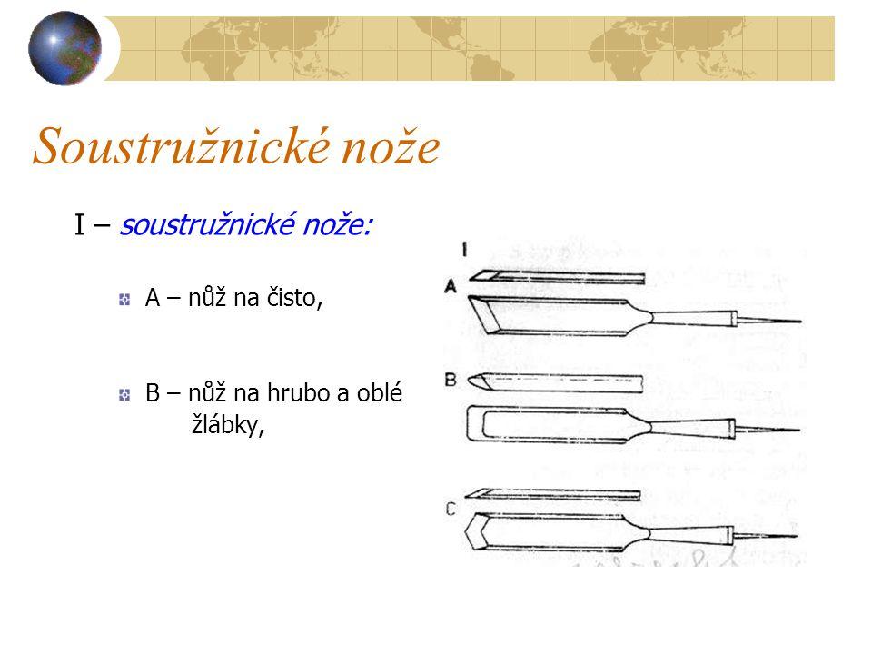 Soustružnické nože I – soustružnické nože: A – nůž na čisto, B – nůž na hrubo a oblé žlábky,