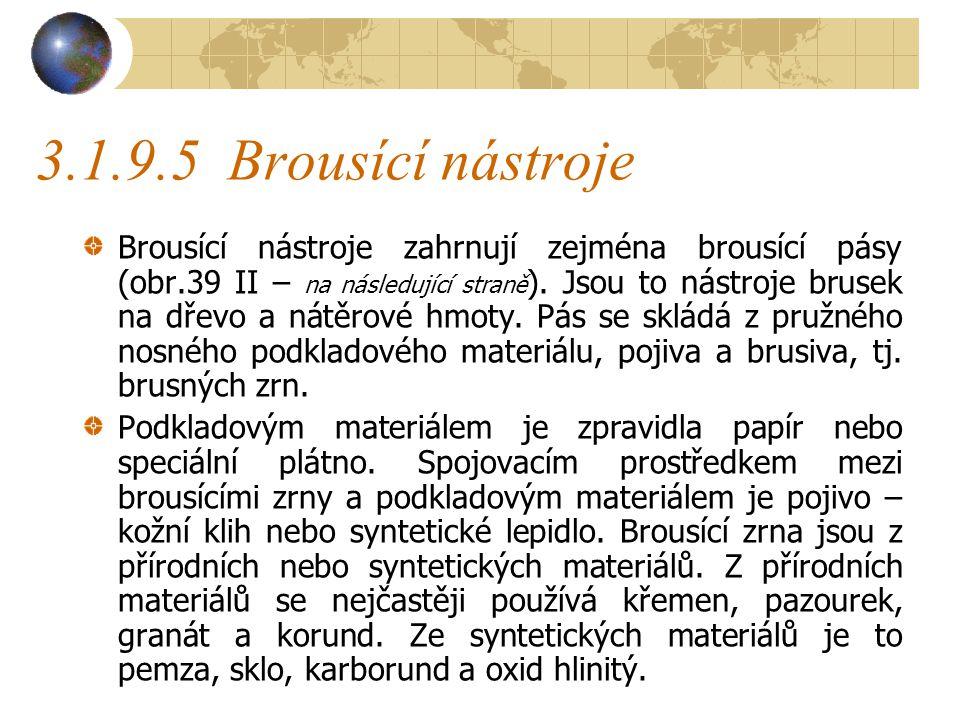 3.1.9.5Brousící nástroje Brousící nástroje zahrnují zejména brousící pásy (obr.39 II – na následující straně ).