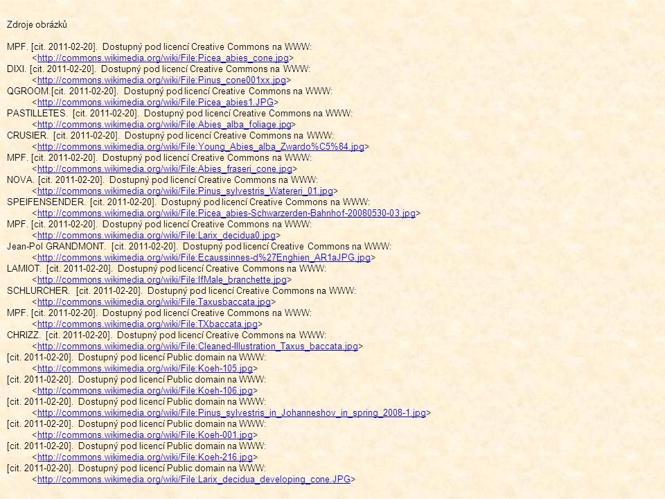 Zdroje obrázků MPF. [cit. 2011-02-20]. Dostupný pod licencí Creative Commons na WWW: http://commons.wikimedia.org/wiki/File:Picea_abies_cone.jpg DIXI.