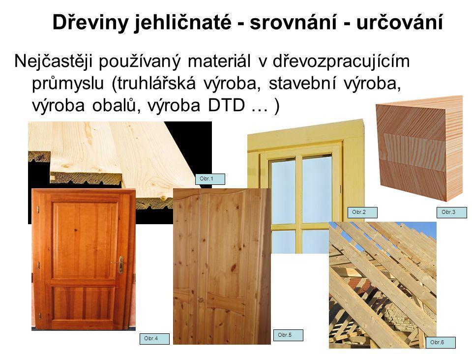 Dřeviny jehličnaté - srovnání - určování Nejčastěji používaný materiál v dřevozpracujícím průmyslu (truhlářská výroba, stavební výroba, výroba obalů,