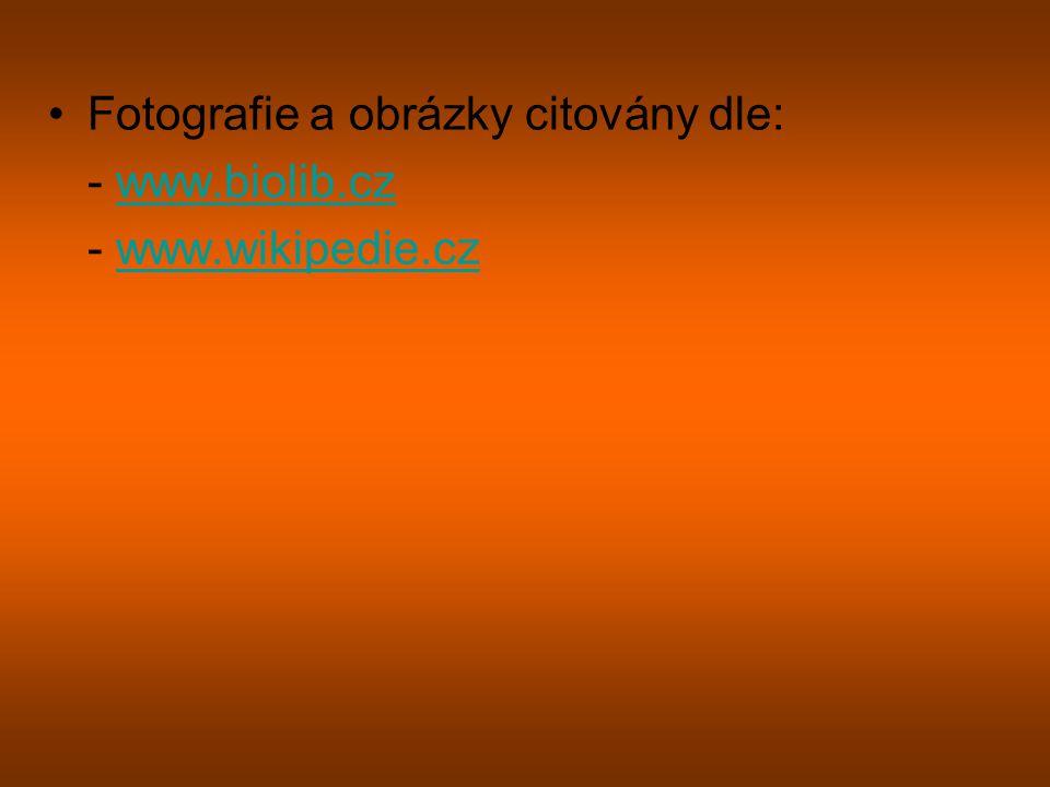 Fotografie a obrázky citovány dle: - www.biolib.czwww.biolib.cz - www.wikipedie.czwww.wikipedie.cz