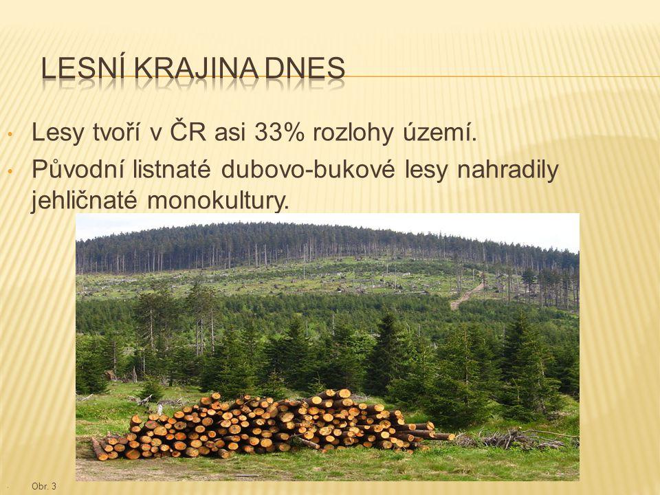 Lesy tvoří v ČR asi 33% rozlohy území. Původní listnaté dubovo-bukové lesy nahradily jehličnaté monokultury. Obr. 3