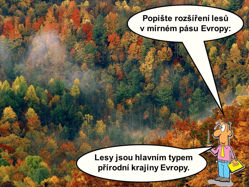 Lesy jsou hlavním typem přírodní krajiny Evropy. Popište rozšíření lesů v mírném pásu Evropy: