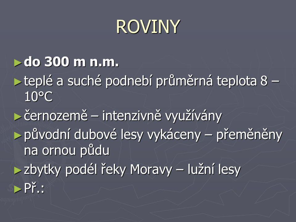 ROVINY ► do 300 m n.m.