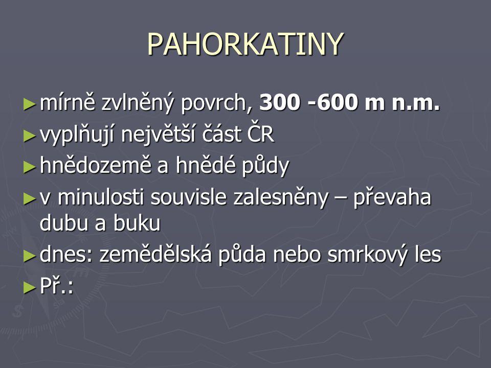 PAHORKATINY ► mírně zvlněný povrch, 300 -600 m n.m.