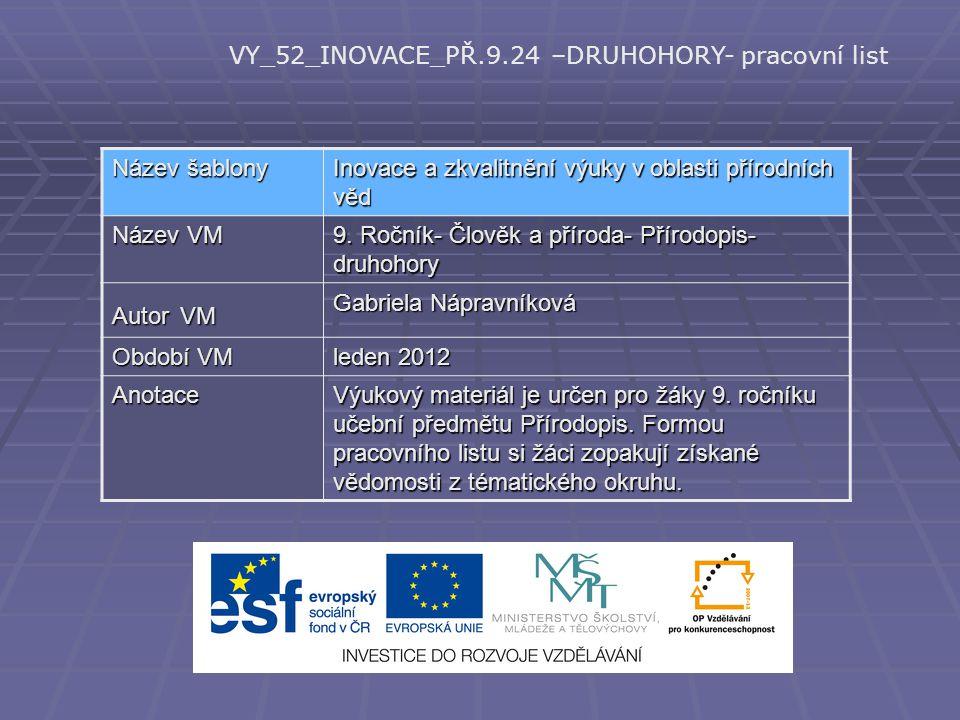 VY_52_INOVACE_PŘ.9.24 –DRUHOHORY- pracovní list Název šablony Inovace a zkvalitnění výuky v oblasti přírodních věd Název VM 9. Ročník- Člověk a přírod